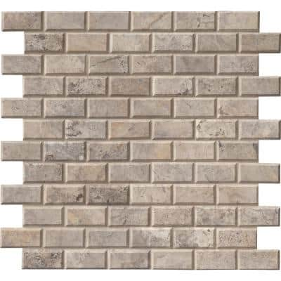 Silver 12 in. x 12 in. x 10mm Honed Travertine Mesh-Mounted Mosaic Wall Tile (10 sq. ft. / case)