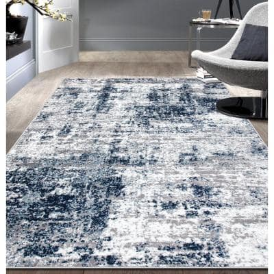 Distressed Modern Abstract Blue 7 ft. 10 in. x 10 ft. Area Rug