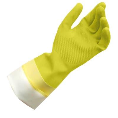 Medium Yellow Latex Cleaning Gloves (6-Pairs)