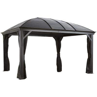 10 ft. D x 16 ft. W Moreno Aluminum Gazebo with Galvanized Steel Roof Panels, 2-Track System and Mosquito Netting