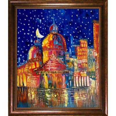 """""""Moon (Venice) II Reproduction with Verona Cafe"""" by Justyna Kopania Framed Abstract Oil Painting 28 in. x 24 in."""
