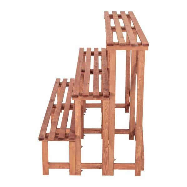Leisure Season Large 3 Tier 48 In W X 24 In D X 32 In H Brown Step Wooden Plant Stand Ps5718 The Home Depot