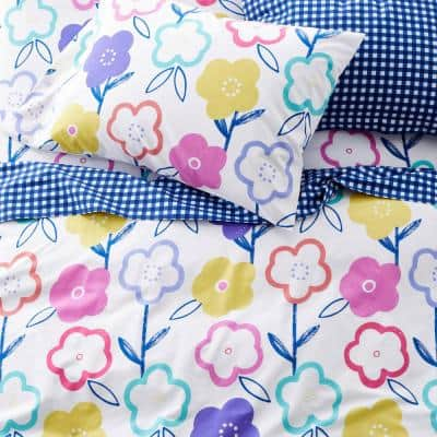 Flower Power Multicolored Graphic 200-Thread Count Organic Cotton Percale Standard Pillowcase (Set of 2)