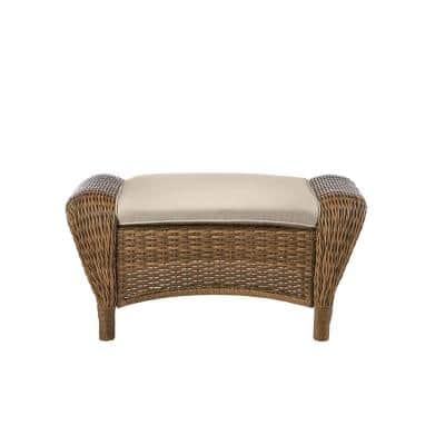 Beacon Park Brown Wicker Outdoor Patio Ottoman with CushionGuard Putty Tan Cushions