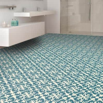 Brooklyn Teal Decorative Residential/Light Commercial Vinyl Sheet Flooring 13.2ft. Wide x Cut to Length