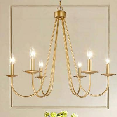 Modern Antique Gold Island Chandelier 28 in. Large 6-Light Farmhouse Candlestick Chandelier for Dining Room