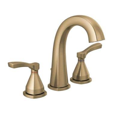 Stryke 8 in. Widespread 2-Handle Bathroom Faucet with Metal Drain Assembly in Champagne Bronze