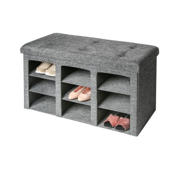 Seville Classics Gray 9 Bin Tufted, Bench With Shoe Storage