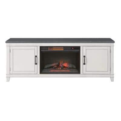 Del Mar 70 in. White and Grey TV Stand with Electric Fireplace