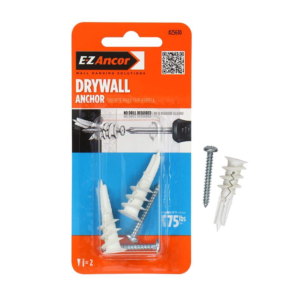 5 Unvert Plastic Self Drilling Drywall E-z Ancor Kit Heavy Duty Holds up to 75 Lb. Anchors with Fitting Phillip Screws #8 x 1-1//4
