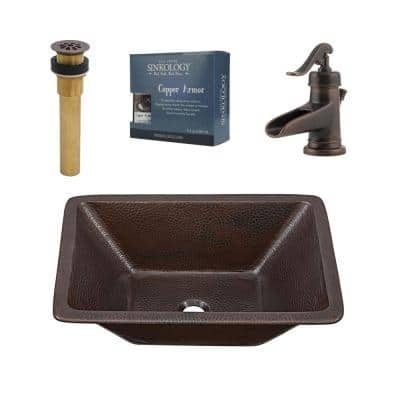 Hawking All-In-One 20 in. Undermount Copper Bathroom Sink with Pfister Centerset Rustic Bronze Faucet and Drain
