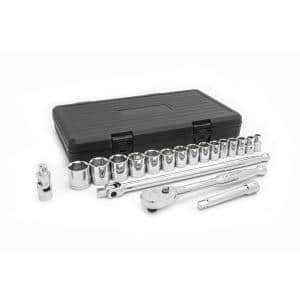 1/2 in. Drive 6-Point Standard SAE Ratchet and Socket Tool Set (19-Piece)