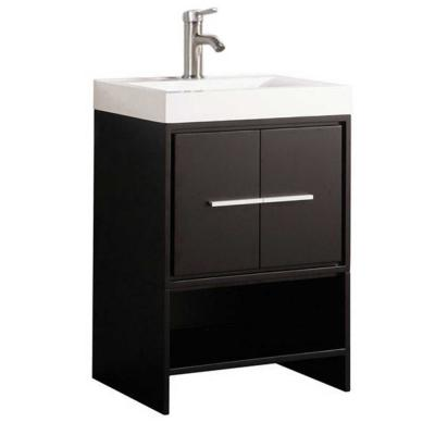 Cypress 24 in. W x 18 in. D x 36 in. H Vanity in Espresso with Acrylic Vanity Top in White with White Basin