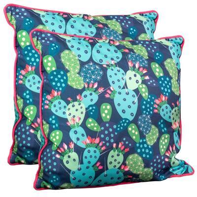 Cactus Outdoor Spunpoly Throw Pillow (2-Pack)