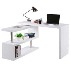 75.5'' in L-Shaped White Writing Computer Desk with Storage Shelf