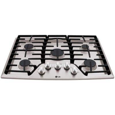30 in. Recessed Gas Cooktop in Stainless Steel with 5 Burners including 17K SuperBoil Burner