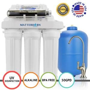 7-Stage Under-Sink Superior Reverse Osmosis pH+ Alkaline Mineral and UV Water Filtration System with 50 GPD Membrane