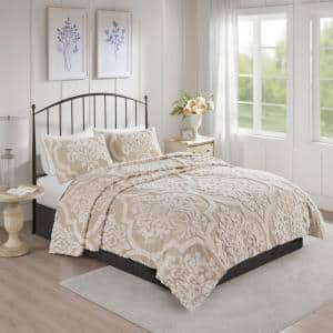 Aeriela 3-Piece Taupe King/Cal King Tufted Cotton Chenille Damask Coverlet Set