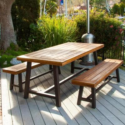 Carlisle Rustic Metal 3-Piece Wood Rectangular Outdoor Dining Set