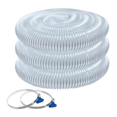 4 in. x 20 ft. Flexible PVC Dust Collection Hose with 2 Key Hose Clamps, Clear Color