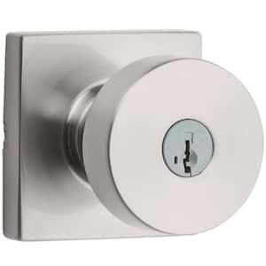 Pismo Square Satin Nickel Keyed Entry Door Knob featuring SmartKey Security