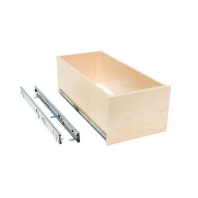 Made-To-Fit 8 in. Tall Box Slide-Out Shelf, 6 in. to 30 in. Wide, Full-Extension with Soft Close, Poly-Finished Birch