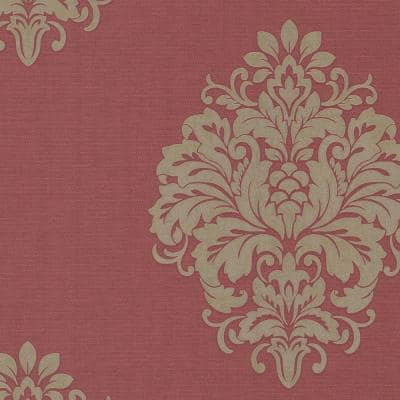 Duchess Red Damask Paper Strippable Wallpaper (Covers 56.4 sq. ft.)