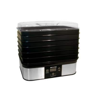 6-Tray Black Food Dehydrator with Temperature Sensor
