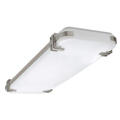 Mission Industrial 48 in. x 15 in. Brushed Nickel Selectable LED Flush Mount Light High Output 5500 Lumens Dimmable