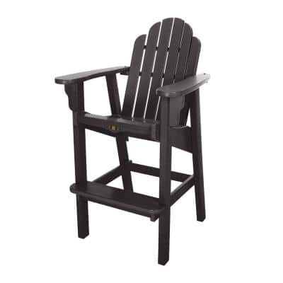 DuraWood Essentials Plastic Outdoor High Dining Chair in Black