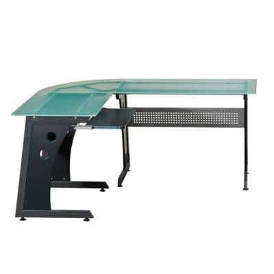 65 in. L-Shaped Graphite/Frosted Computer Desk with Keyboard Tray