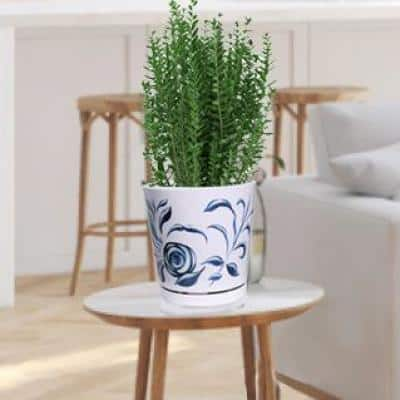 8.75 in. Blue Stylized Floral Melamine Planter with Self Watering Saucer
