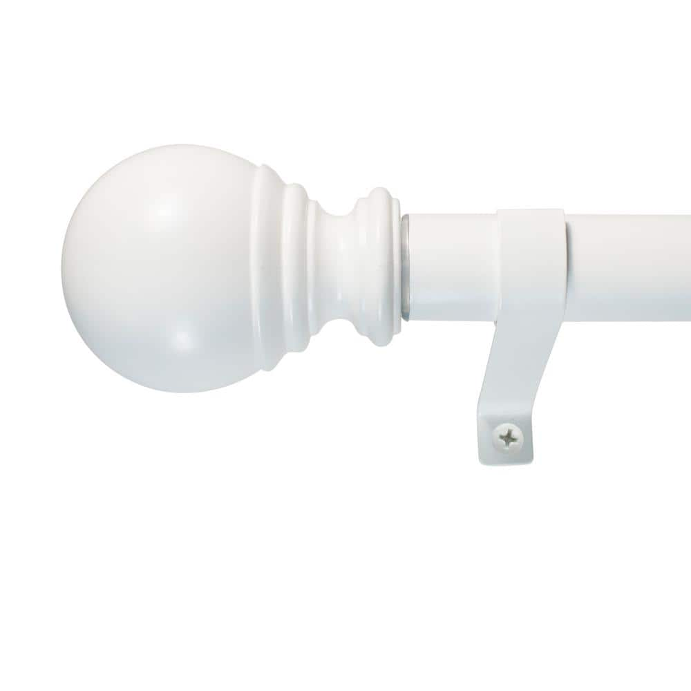 decopolitan 72 in 144 in single curtain rod in white 30409 wt72 the home depot