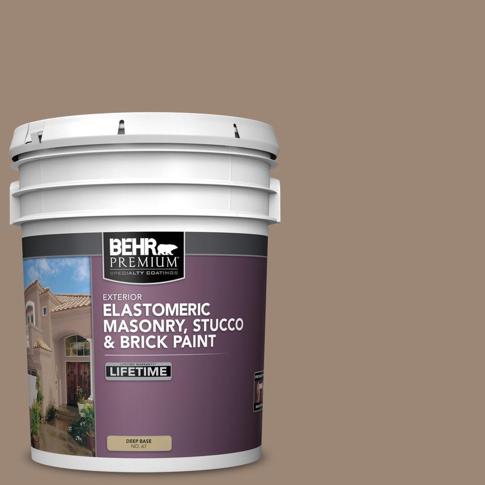 5 gal. #PPU5-16 Earthnut Elastomeric Masonry, Stucco and Brick Exterior Paint