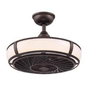 Tuilene 21 in. Integrated LED Espresso Bronze Ceiling Fan with Light and Remote Control
