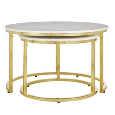 Cheval 2-Piece 31 in. Gold/Marble Medium Round Marble Coffee Table Set