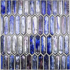 Fargin Dusk Elongated Hexagon 12 in. x 10 in. x 7mm Polished Glass Mosaic Tile (0.82 sq. ft.)