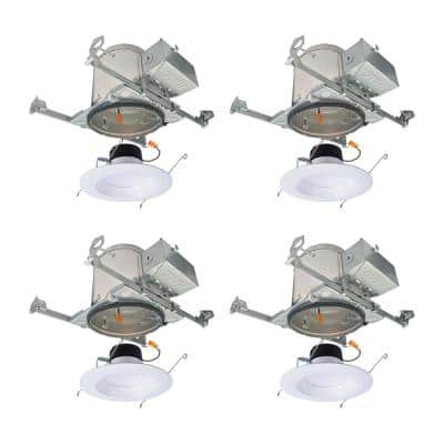 LT 6 in. New Construction IC Housing and Dimmable White Integrated LED Recessed Ceiling Light Retrofit Kit (4-Pack)