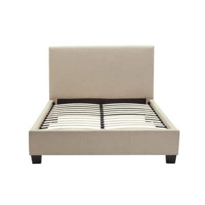 Geneva St. Pierre Beige Toast Linen California King Storage Bed with Hidden Footboard Drawers