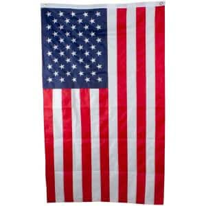 3 ft. x 5 ft. Patriotic Embroidered American Flag with Grommets