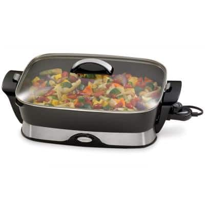 16 in. x 12 in. (118 sq. in.) Black Cast Aluminum Foldaway Electric Skillet with Glass Lid