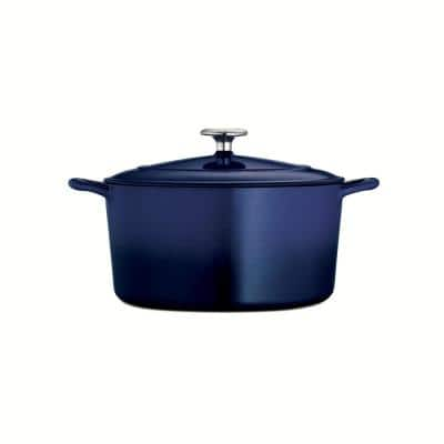 Gourmet 6.5 qt. Round Enameled Cast Iron Dutch Oven in Gradated Cobalt with Lid