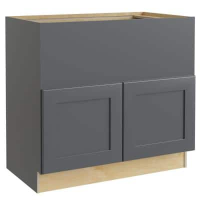 Navarre Onyx Gray Shaker Assembled Plywood 36 x 34.5 x 24 in. Stock Farm Sink Base Kitchen Cabinet Soft Close Doors