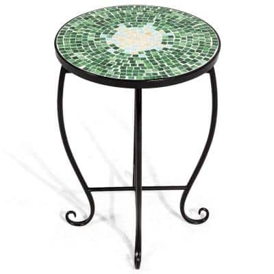 14 in. Large Green Steel Accent Table Plant Stand with Curved Legs