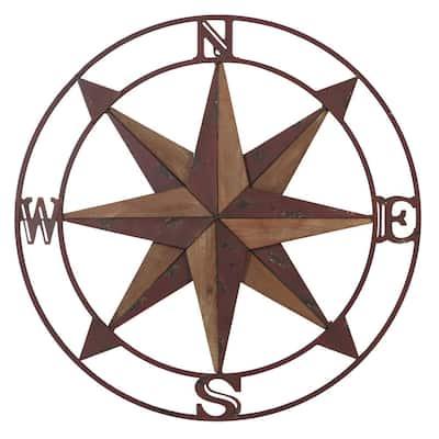 Iron Red Nautical Compass Metal Work