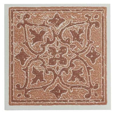 Vinyl 4 in. x 4 in. Self-Sticking Motif Wall/Decorative Wall Tile in Terra Accent (27 Tiles Per Box)