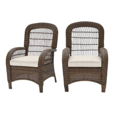 Beacon Park Brown Stationary Wicker Outdoor Patio Captain Dining Chair with CushionGuard Almond Tan Cushions (2-Pack)