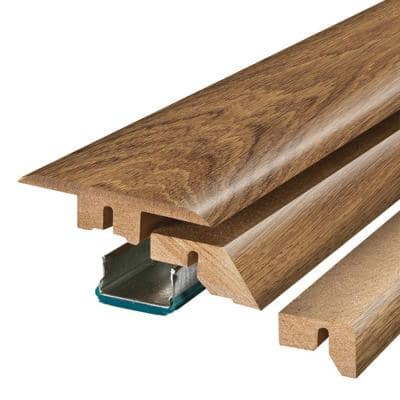 Burnished Caramel Oak .75 in. Thick x 2.37 in. Wide x 78.75 in. Length Laminate 4-in-1 Molding