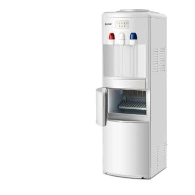Premium Hot/Cold Top Loading Water Dispenser Built-In Ice Maker Machine Hot Cold Room Water in White