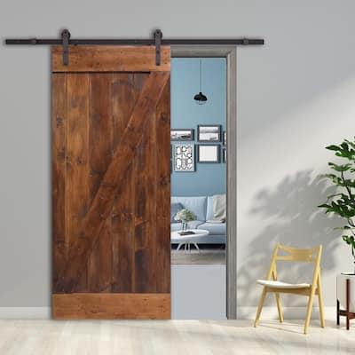 30 in. x 84 in. Z-Bar Wood Sliding Barn Door with Sliding Door Hardware Kit